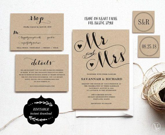 Wedding Invitation Template Printable Wedding by VineWedding