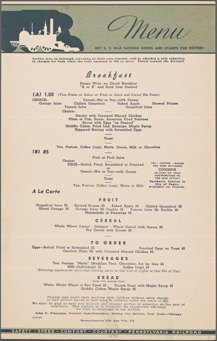 Menu Pennsylvania Railroad January 1 1942