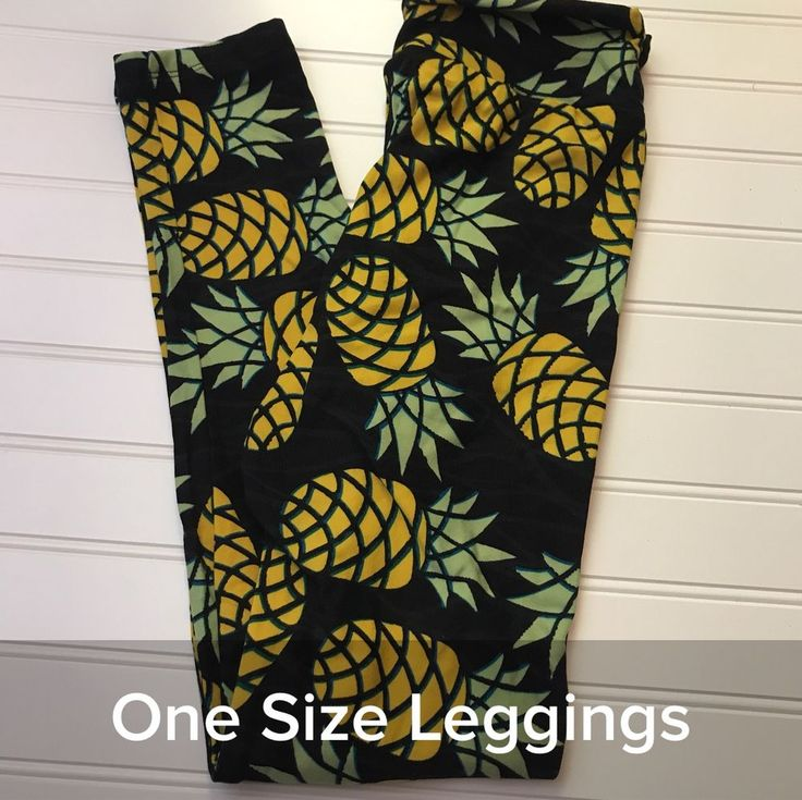 NWT Lularoe Black Yellow Pineapple Leggings OS #LuLaRoe #leggings