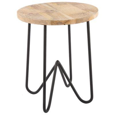 Krukje Ferro 29164 zwart met hout #Casabella #Kruk #Furniture #Wonen