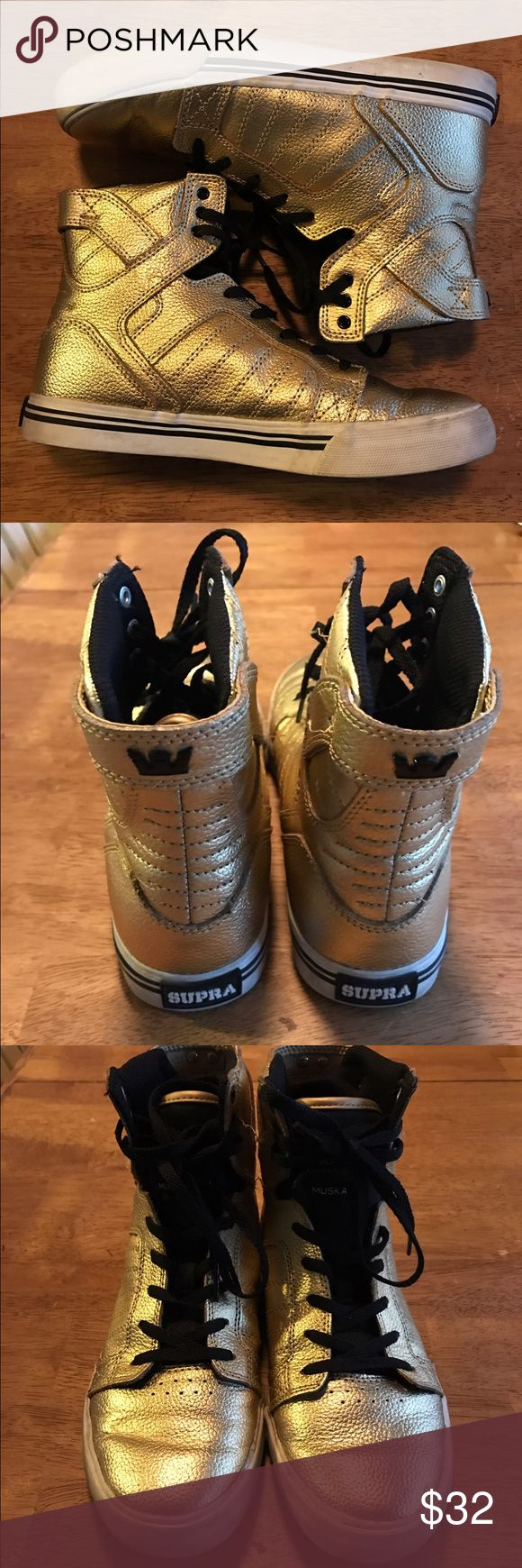 Supra Muska 001 Gold high tops Gold Supra high tops✨size 6✨excellent condition Supra Shoes Sneakers