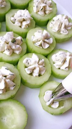 Cucumber Bites Appetizers  2 – Cucumbers 12 – cherry tomatoes 4 oz. – cream cheese softened 1 tbsp. – mayonnaise 3 tbsp. – light ranch 1 tbsp. – frozen or fresh dill ¼ tsp. – garlic salt Black pepper for garnish