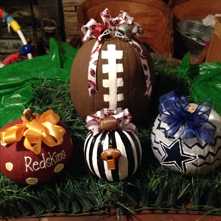Pumpkins painted for Redskins/Cowboys game! Used 2 coats of gloss acrylic paint.