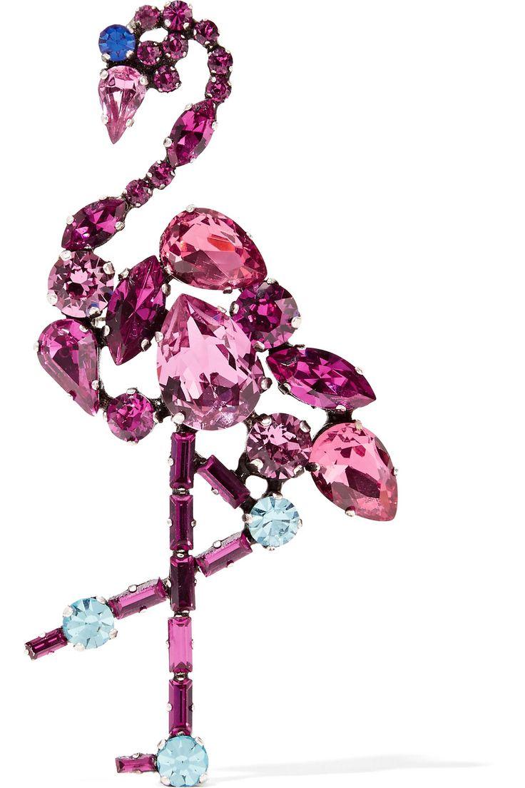 MARC JACOBS Flamingo silver-tone crystal brooch