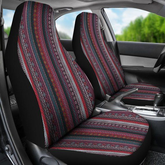 Red Boho Stripe Decor Car Seat Covers Pair 2 Front Seat Covers