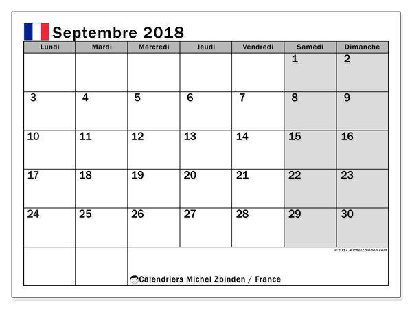 Calendrier septembre 2018, France Imprimables Pinterest