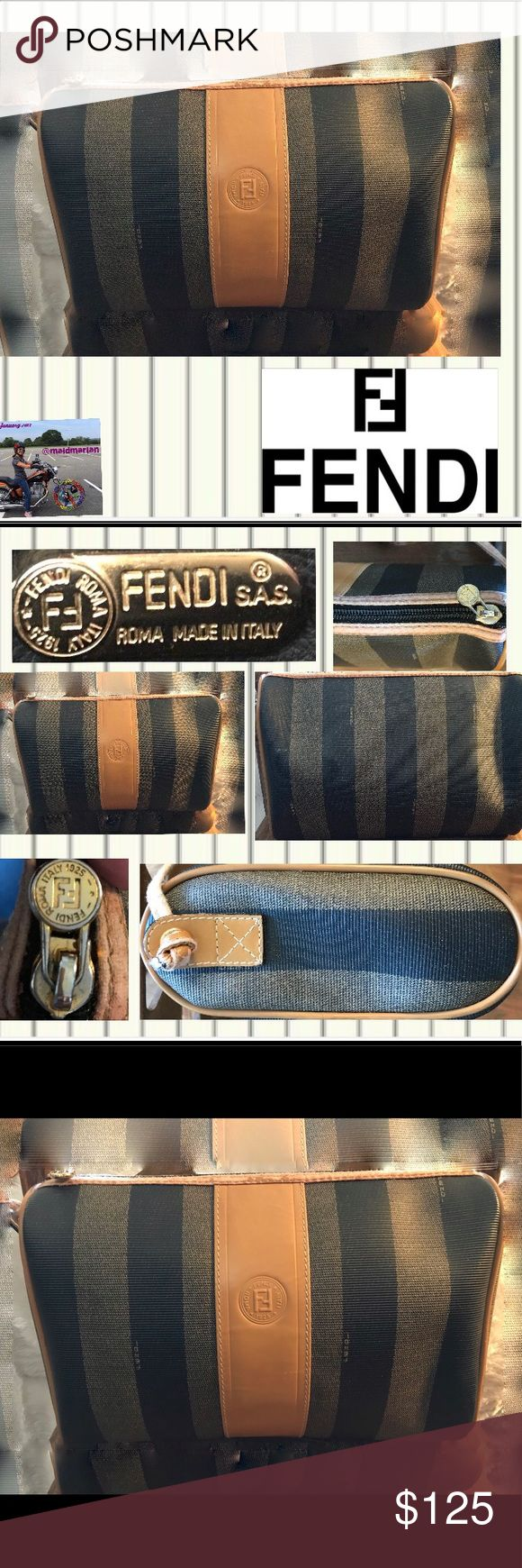 VTG FENDI SHOULDER BAG VTG FENDI SHOULDER BAG. Bag and interior in perfect condition. Leather trim around zipper and on strap has worn off, as shown in pictures and reflected in price. Circa' 80-83 which I've learned is when Fendi began to put serial numbers inside bag across from the brass creed. I've also learned that Fendi bags may be made from PVC & leather. All brass hardware. This bag can be restored to perfection by a professional. Dust bag but no certificate. Any questions please ask…