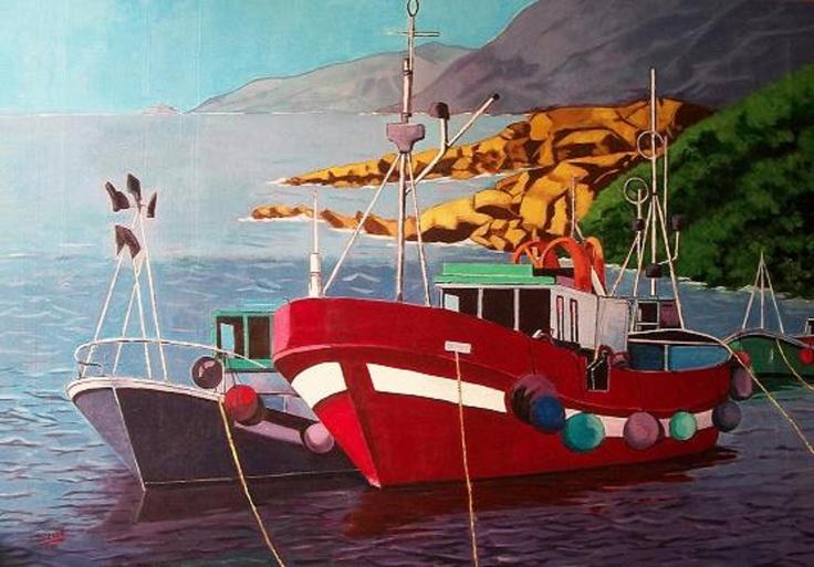 Titulo: Barcos pesqueros, acrilico sobre lienzo, 116 x 81.