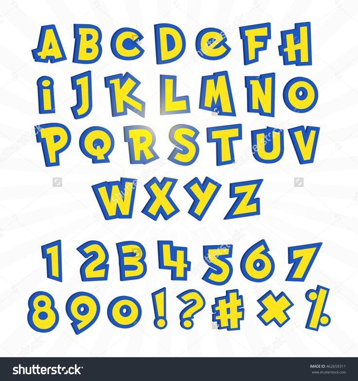 Alphabet in pokemon cartoon style on white. Typography