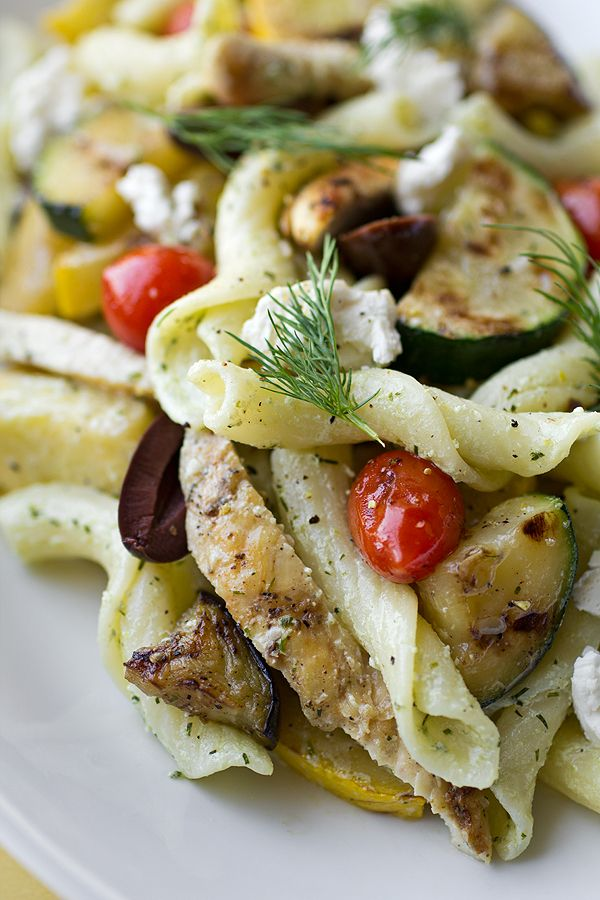 """Warm Mediterranean Pasta Salad:  8 ounces Torchiette pasta, or any """"twisty"""" style of pasta  2 chicken breasts, skinless boneless,  Salt,  Black pepper,  Olive oil, zucchini,  yellow squassh, eggplant,  cherry tomatoes,  • Creamy, Lemon-Dill Vinaigrette:  ½ cup pitted Kalamata olives  ½ cup feta cheese, crumbled  2 tablespoons fresh dill, chopped, for garnish"""
