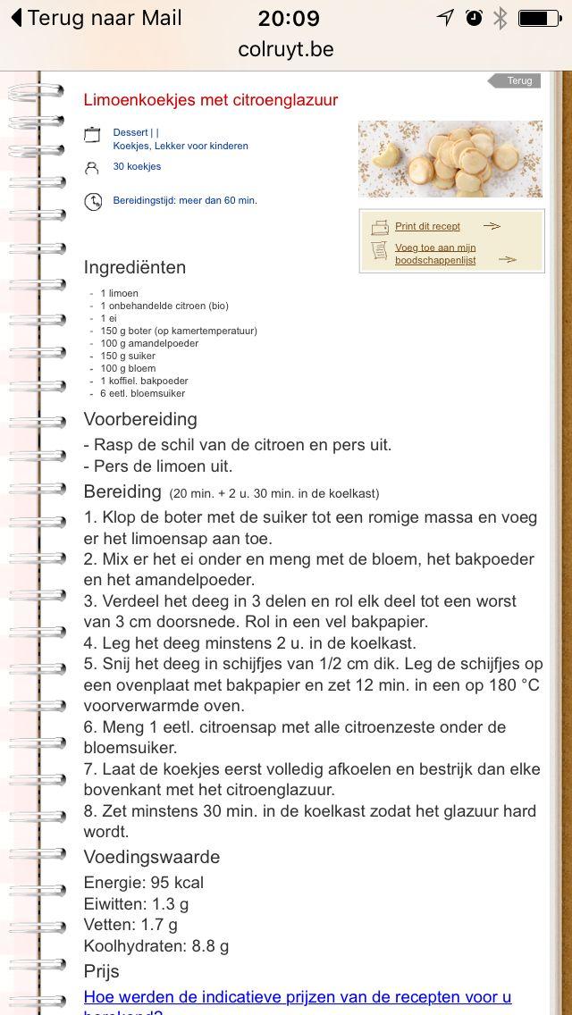 Limoenkoekjes met citroenglazuur (recept Colruyt)