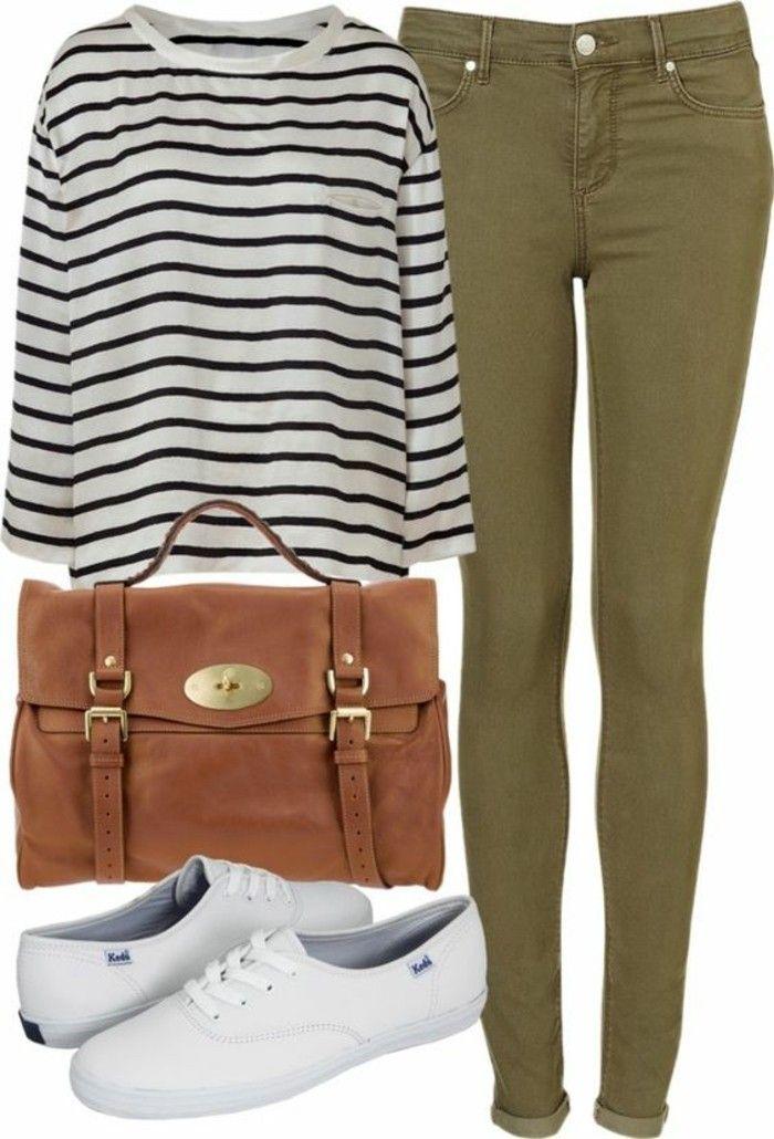 tenue avec pantalon kaki, combiner avec sac à main marron et blouse blanc et noir
