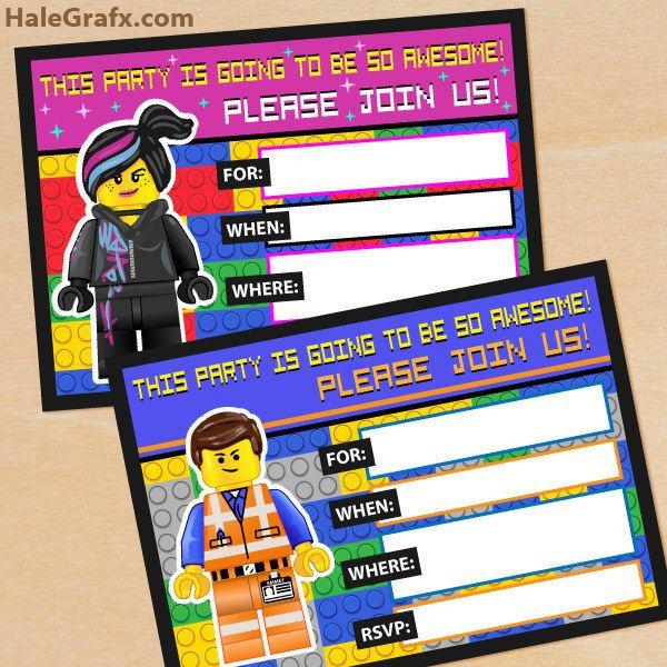 202 best lego party ideas images on pinterest   birthday ideas, Invitation templates