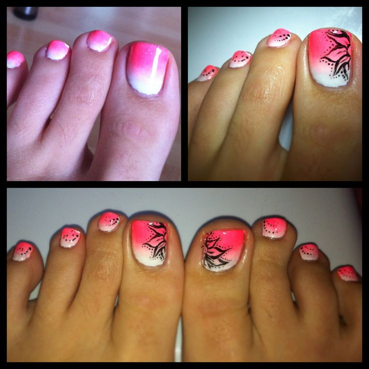 Ombrè Shellac Toe Pedi! Sunset Neon by Nailitz is an additive that I applied over Cream Puff shellac. And I hand painted on a black floral design. Bring on the summer!