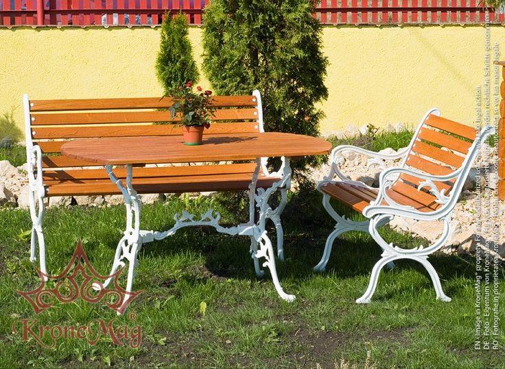 Set mobilier de gradina BAYSTON - Garten compus din 1 masa de gradina, 1 fotoliu de gradina si 1 banca de gradina.