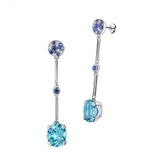Plaisir d'Amour Earrings  Plaisir d'Amour earrings, 18Kt white gold, Aqua Marine (5,2 ct), sapphires and diamond pavé.