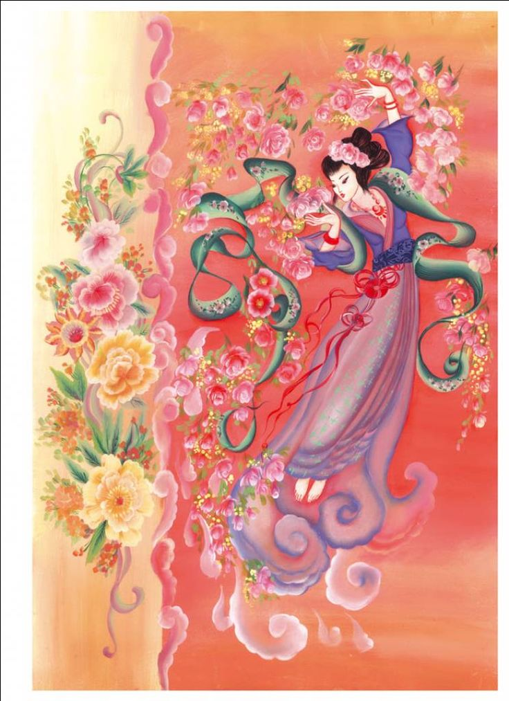 Rice paper of Japanese Geisha dancing with roses