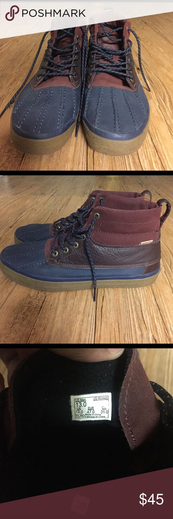 Vans Sk8-Hi MTE Sneakerboot Burgundy and navy colored, gum sole, suede and rubber, duck boot style, size 13, good condition, don't have box to ship in but will ship in a different shoe box Vans Shoes Boots
