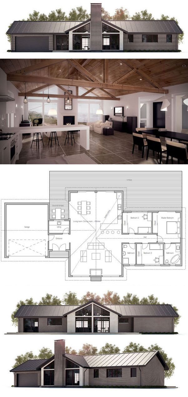House Plan in modern architecture three bedrooms