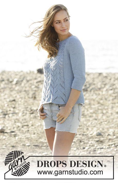 Raglánový pulovr s ažurovým vzorem pletený z příze DROPS Paris. Velikost: S - XXXL. Návod DROPS Design zdarma.