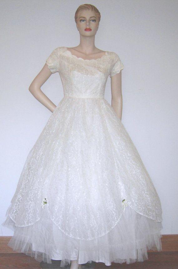 Vintage Wedding Dress Ca : Vtg s emma domb ca lace wedding dress by