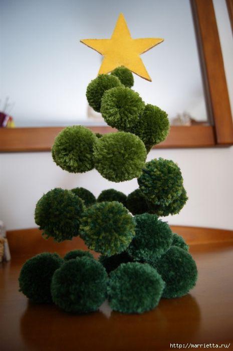 Новогодние елки и снеговики из помпонов (8) (465x700, 190Kb)