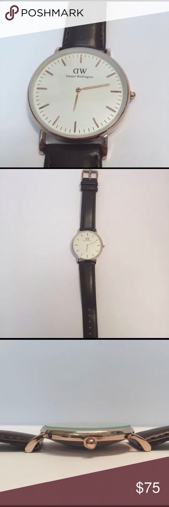 Daniel Wellington Men's Watch Daniel Wellington Men's Watch a/ Rose Gold casing and leather band. The glass needs to be reset but otherwise the watch has been fine. I am the second owner. Daniel Wellington Accessories Watches