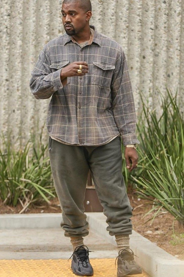 Kanye West leaving the office in a comfy outfit
