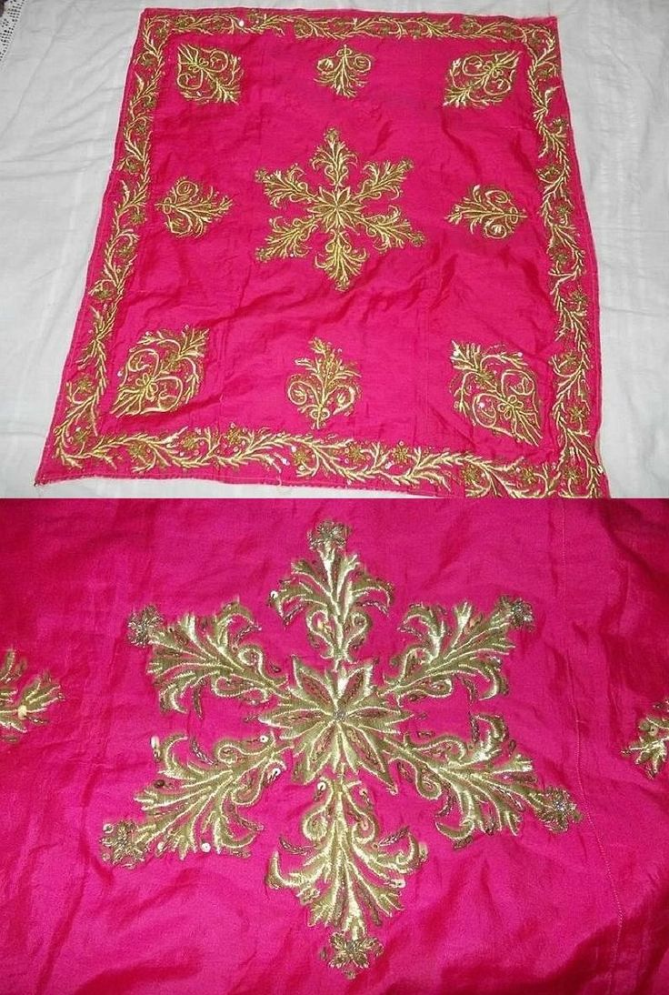 'Bohça' (wrapper).  'Goldwork' embroidery and metallic sequins on silk.  Late-Ottoman, ca. 1900.