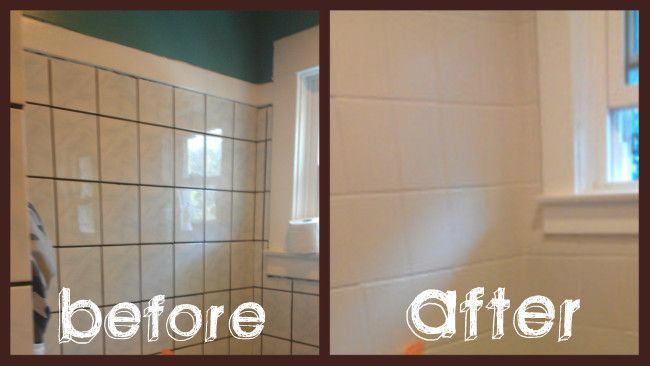 500 bathroom makeover in 3 days diy tiles paint tiles for How to paint bathroom wall tile