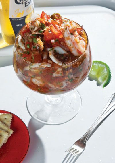 """Roberto Santibañez, chef at Fonda restaurant in Brooklyn, New York, shared his recipe for this bracing seafood cocktail, a popular Mexican hangover cure (its name means """"return to life"""" in Spanish). See the recipe »"""