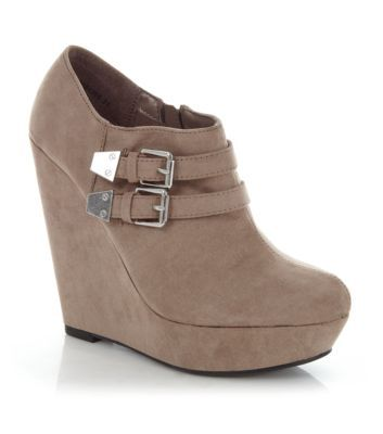 Light Brown Double Buckle Wedge Shoe Boots