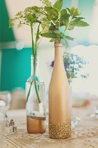 137 best wedding trends mason jars bottles and old for Homemade wine bottle centerpieces