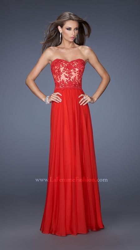 La femme red prom dress