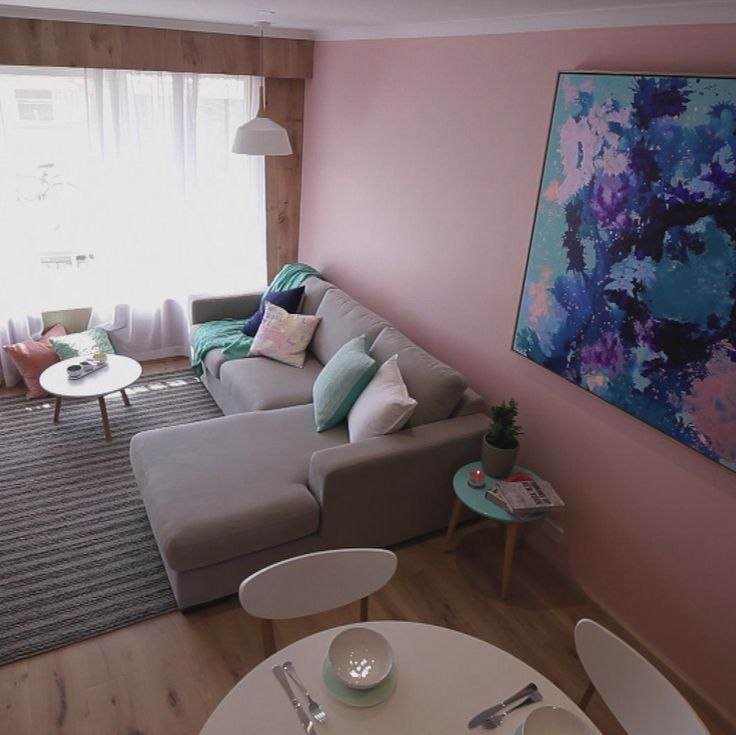 The pink room from The Block. We love that they have used a colour that is not often seen like this and went with it. Cushions in a complementing colour and throws all tie in with the artwork and it looks fabulous! #cushions #throw #pink room www.wamhomedecor.com.au