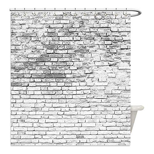 Liguo88 Custom Waterproof Bathroom Shower Curtain Polyester Rustic Home Decor Worn and Cracked Grunge Stained Brick Masonry Architecture…