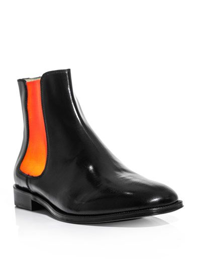 christopher kane  neon and black leather chelsea boots (146385)