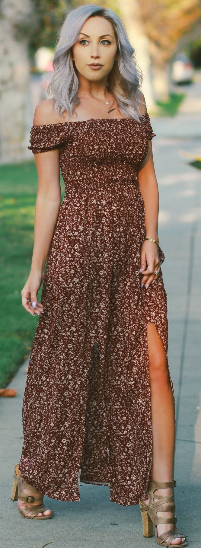 #fall #street #style | Fall Floral Off The Shoulder Maxi Dress + Silver Hair