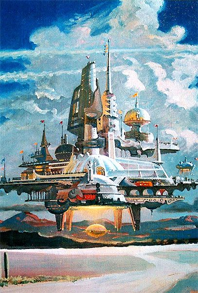 Flying City by Robert McCall.  #flyingcity  #futurecity  #RobertMcCall