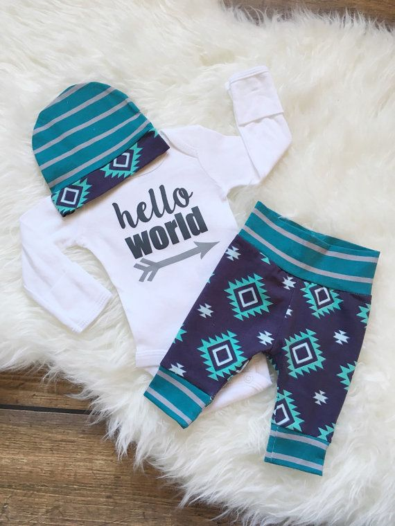 Newborn Baby coming home outfit Navy Teal and Mint door GigiandMax