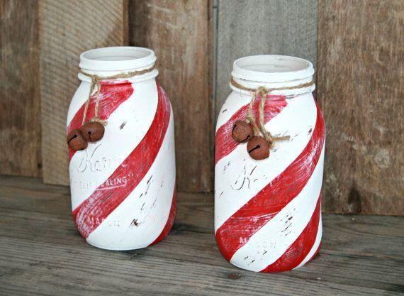 Home and Holiday Decor-Painted, Distressed Mason Jar, Vase, Organization, Rustic, Candy Cane Mason Jar, Christmas Decor
