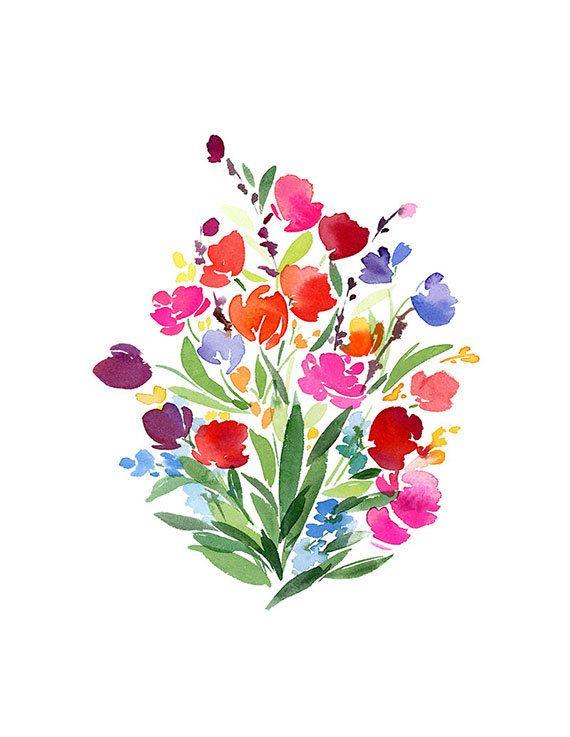 Handmade Watercolor Bouquet of Flowers- 8x10 Wall Art Watercolor Print via Etsy