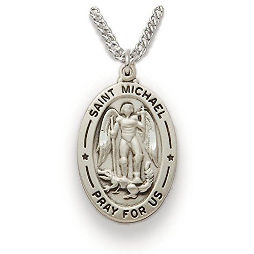 Sterling Silver 1 Inch Oval Engraved St. Michael Medal on 20 Inch Stainless Steel Chain with a Lobster Clasp Claw and Delivered gift boxed.  Features  Medal  Sterling Silver  1 Inch  Chain  20 Inch Stainless Steel with Rhodium Finish  Lobster Claw Clasp  Comes in Jewelry Gift Box  Features Saint Michael  Patron of the Police and Military