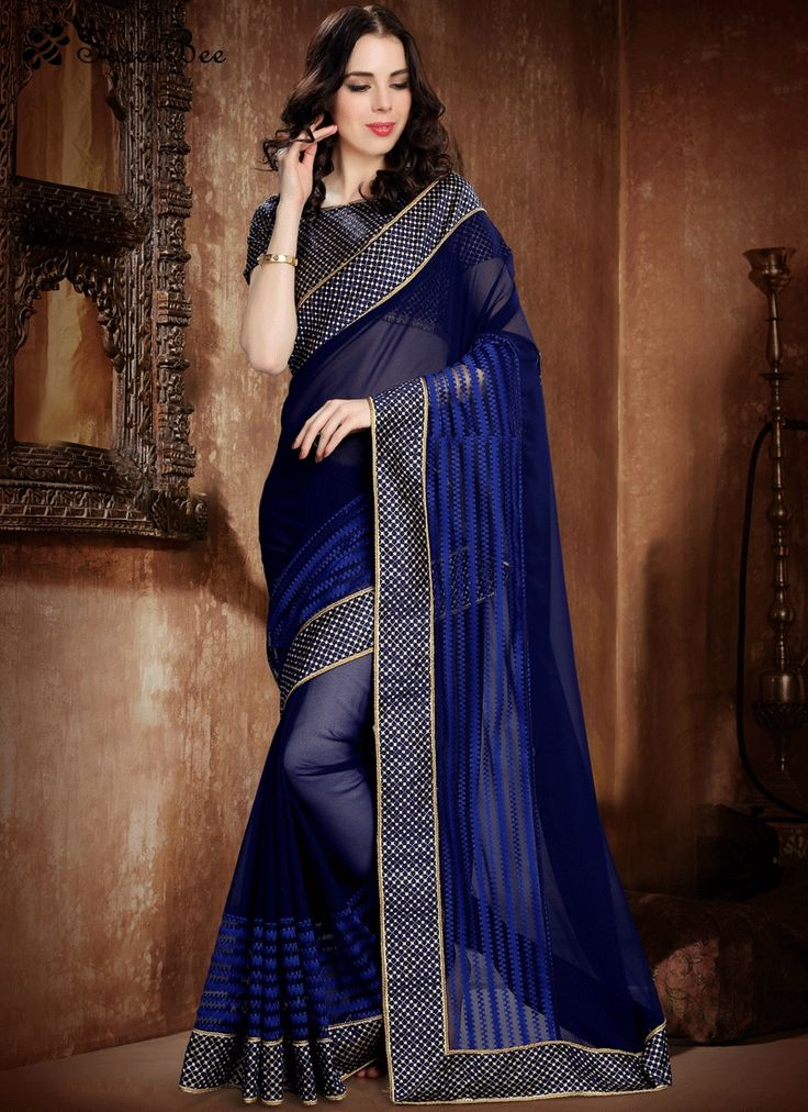 Invigorating Navy Blue Net Classic Saree
