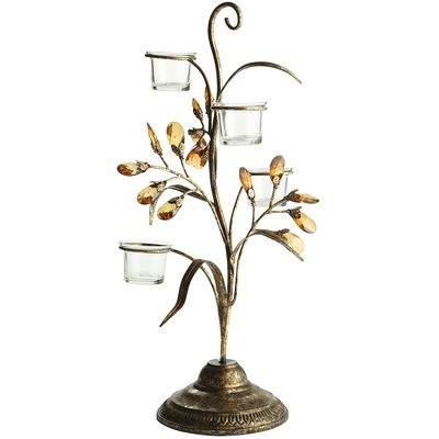Amber Jeweled Leaves Votive Centerpiece. So cute. Love the bling.
