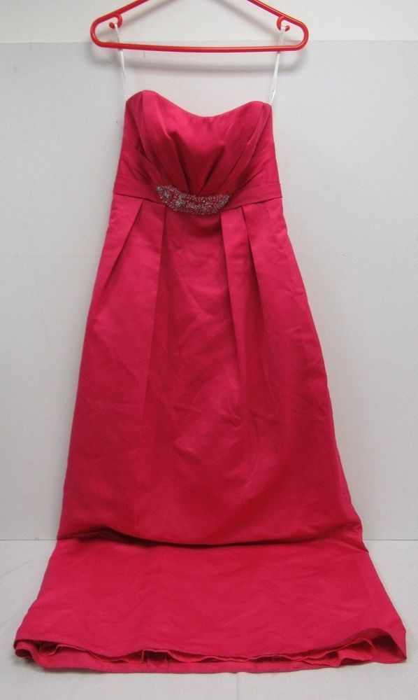 Forever Yours Bright Pink Formal Dress Usa Size 8 W Embroidery