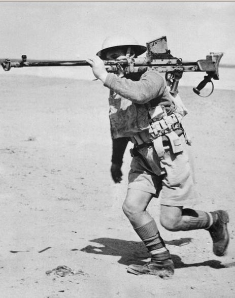 British soldiers with anti-tank gun Boys on maneuvers in the desert. Egypt, 1940