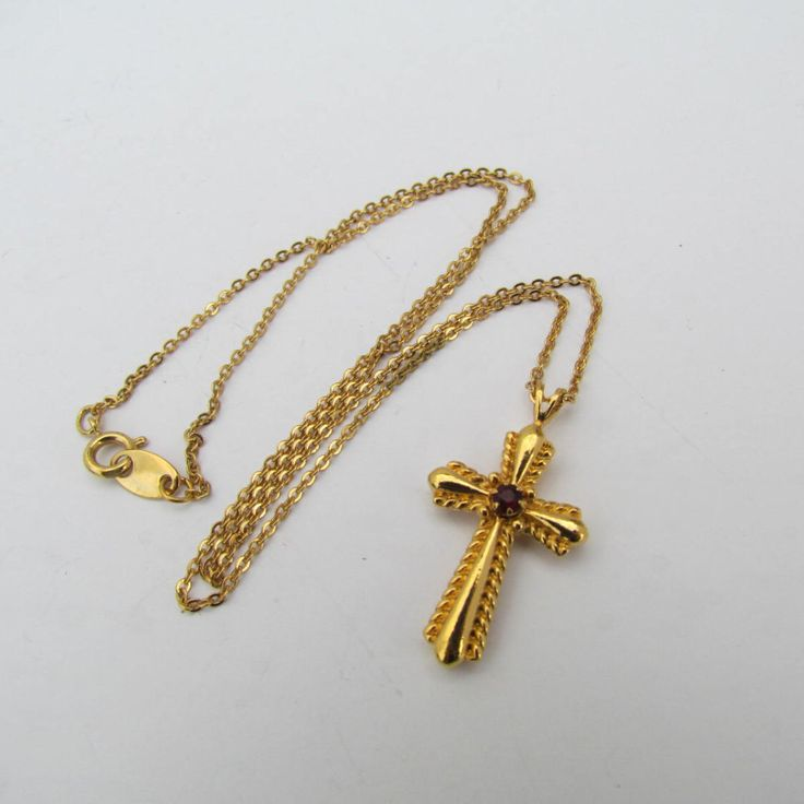 Antique Cross Pendant Necklace - Religious Jewelry Christian Gold Tone Cross Red Ruby Rhinestone Necklaces Antique Jewellery Avon Jewelry by WhyWeLoveThePast on Etsy https://www.etsy.com/listing/207901008/antique-cross-pendant-necklace-religious