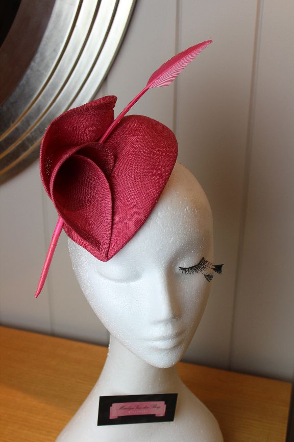 Pink straw heart shaped fascinator with arrow feather accent.  mvbmillinery.com