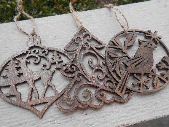 Set Of Three Wood Ornaments Laser Cut Reindeer Cardinal